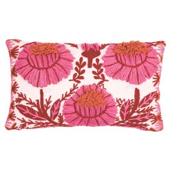 Schumacher Marguerite Embroidery Pillow in Blossom