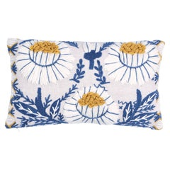 Schumacher Marguerite Embroidery Pillow in Blue & Ochre
