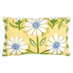 Schumacher Marguerite Embroidery Pillow in Buttercup
