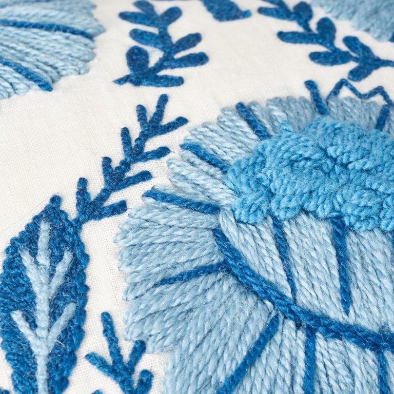 Modern Schumacher Marguerite Embroidery Sky Linen Wool Pillow For Sale