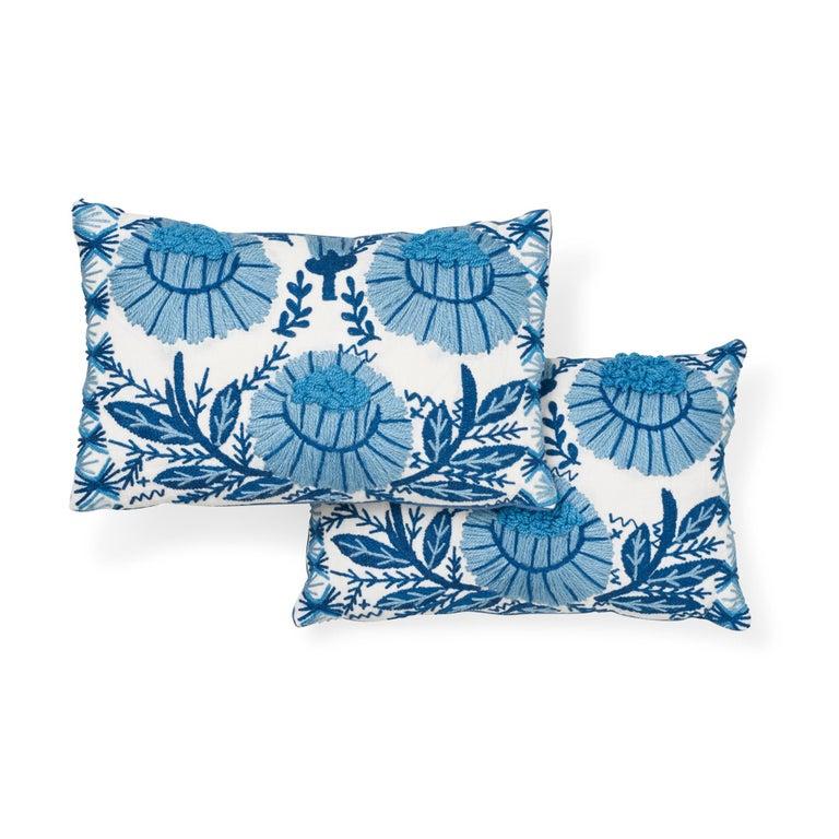 Indian Schumacher Marguerite Embroidery Sky Linen Wool Pillow For Sale