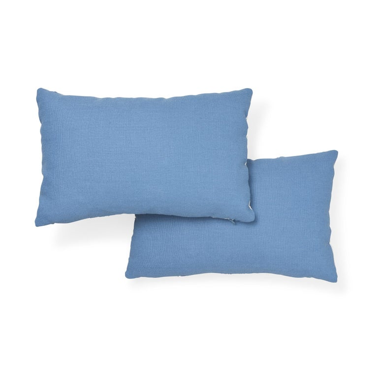Schumacher Marguerite Embroidery Sky Linen Wool Pillow In New Condition For Sale In New York, NY