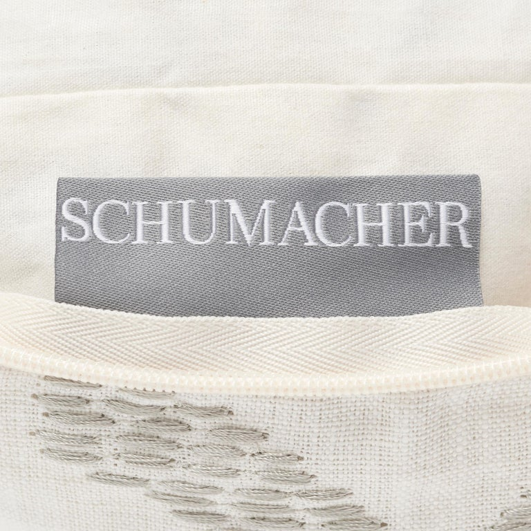 Contemporary Schumacher Marguerite Embroidery Sky Linen Wool Pillow For Sale