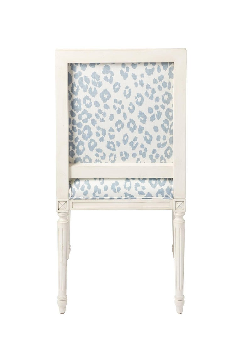 Schumacher Marie Therese Iconic Leopard Blue Hand-Carved Beechwood Side Chair  For Sale 7