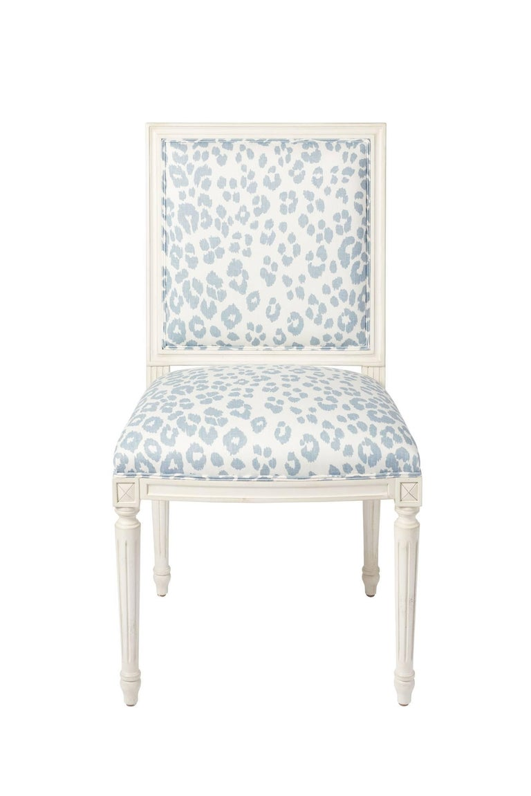 The Marie Thereseside chair is a timeless silhouette that features a hand-carved European beechwood frame. Upholstered in the sexy Iconic Leopard pattern; first introduced in the 1970s. This Schumacher Classic pattern is eternally chic!   Since