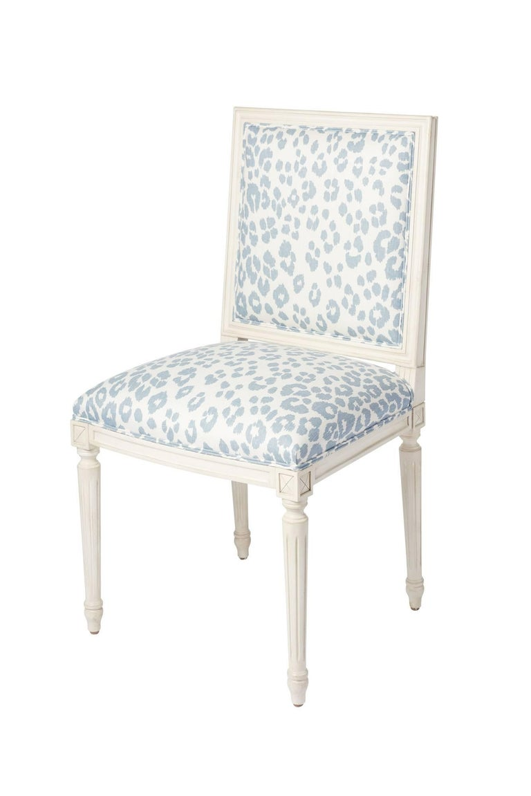 Contemporary Schumacher Marie Therese Iconic Leopard Blue Hand-Carved Beechwood Side Chair  For Sale