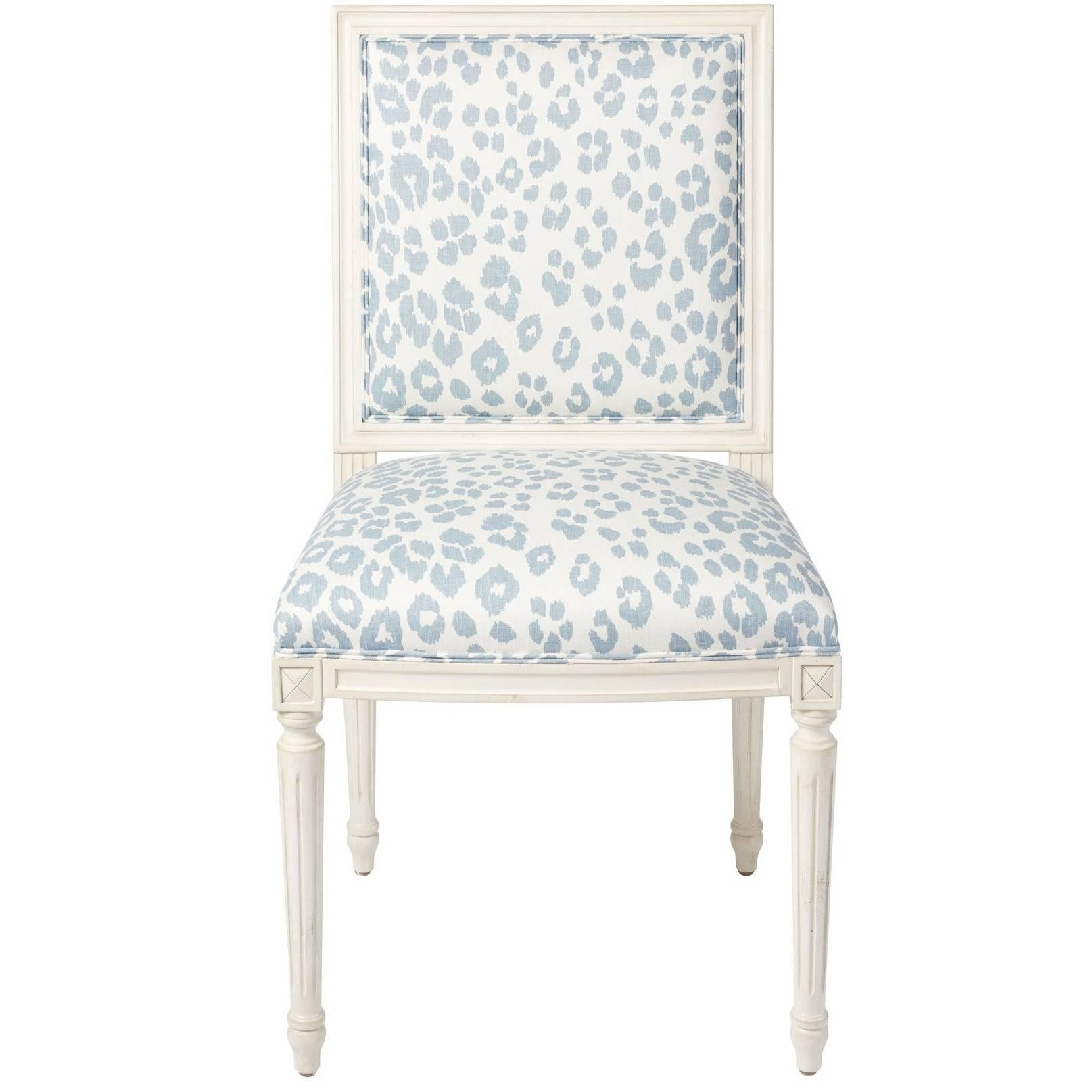 Schumacher Marie Therese Iconic Leopard Blue Hand-Carved Beechwood Side Chair