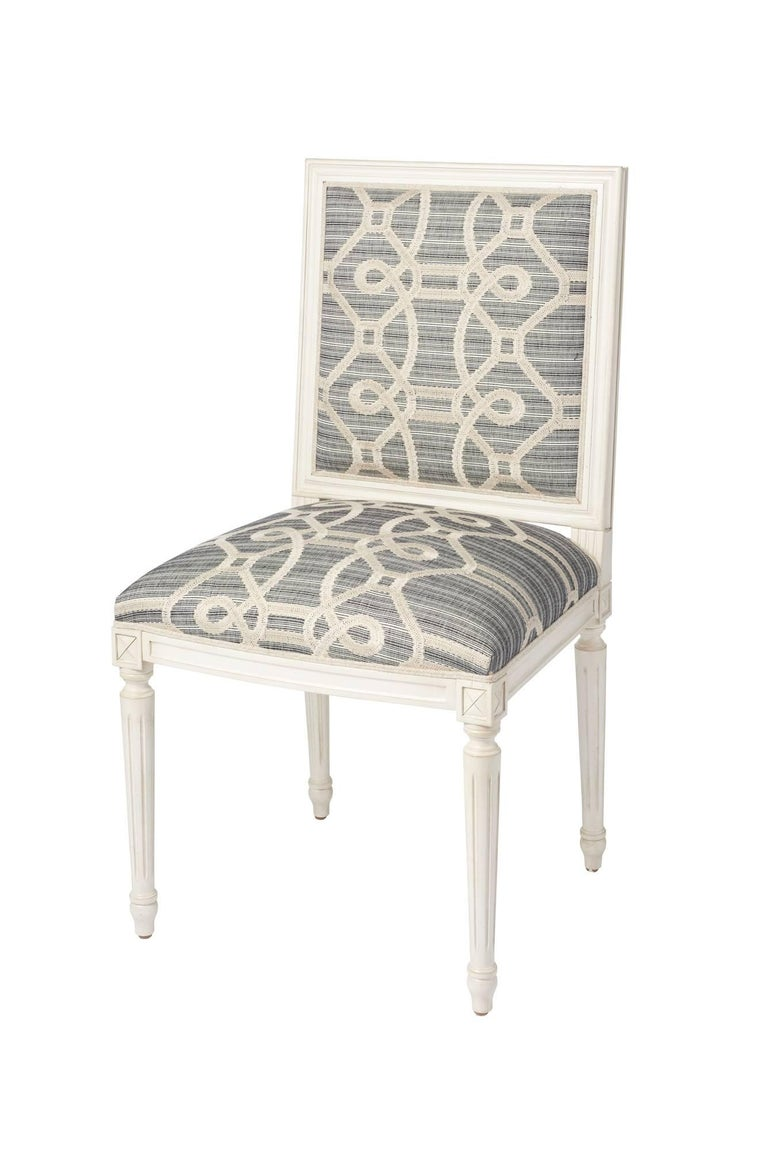 Schumacher Marie Therese Ziz Embroidery Strié Hand-Carved Beechwood Side Chair  For Sale 5