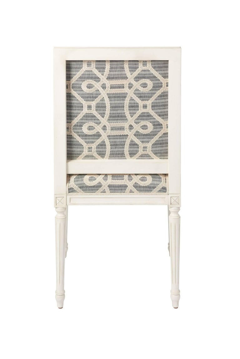 Schumacher Marie Therese Ziz Embroidery Strié Hand-Carved Beechwood Side Chair  For Sale 6