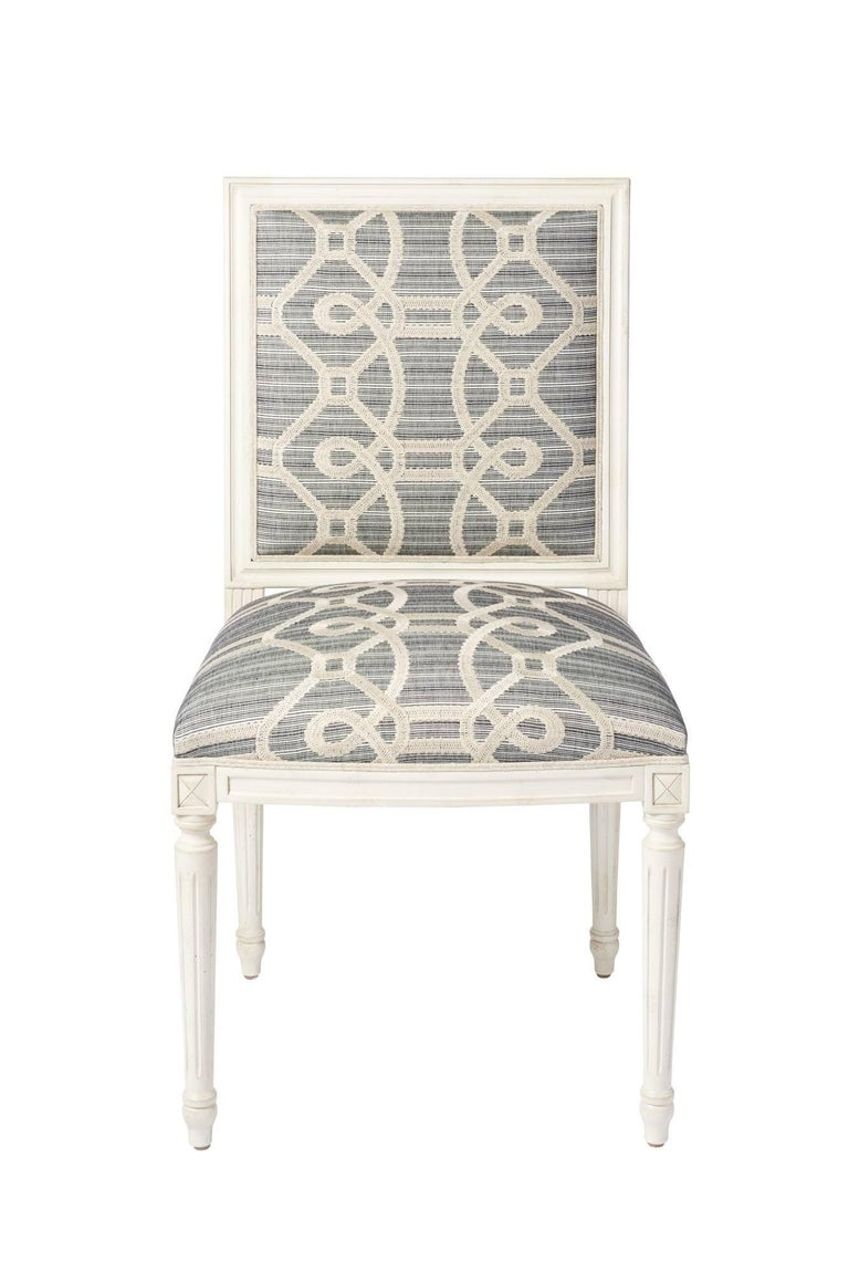 Schumacher Marie Therese Ziz Embroidery Strié Hand-Carved Beechwood Side Chair  In New Condition For Sale In New York, NY