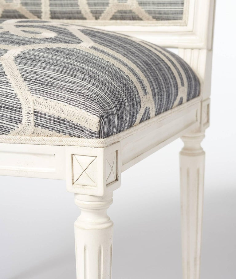 Cotton Schumacher Marie Therese Ziz Embroidery Strié Hand-Carved Beechwood Side Chair  For Sale