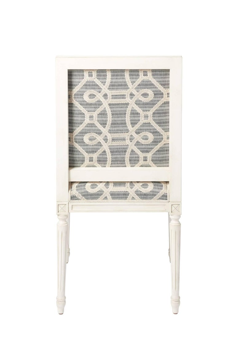 Schumacher Marie Therese Ziz Embroidery Strié Hand-Carved Beechwood Side Chair  For Sale 2