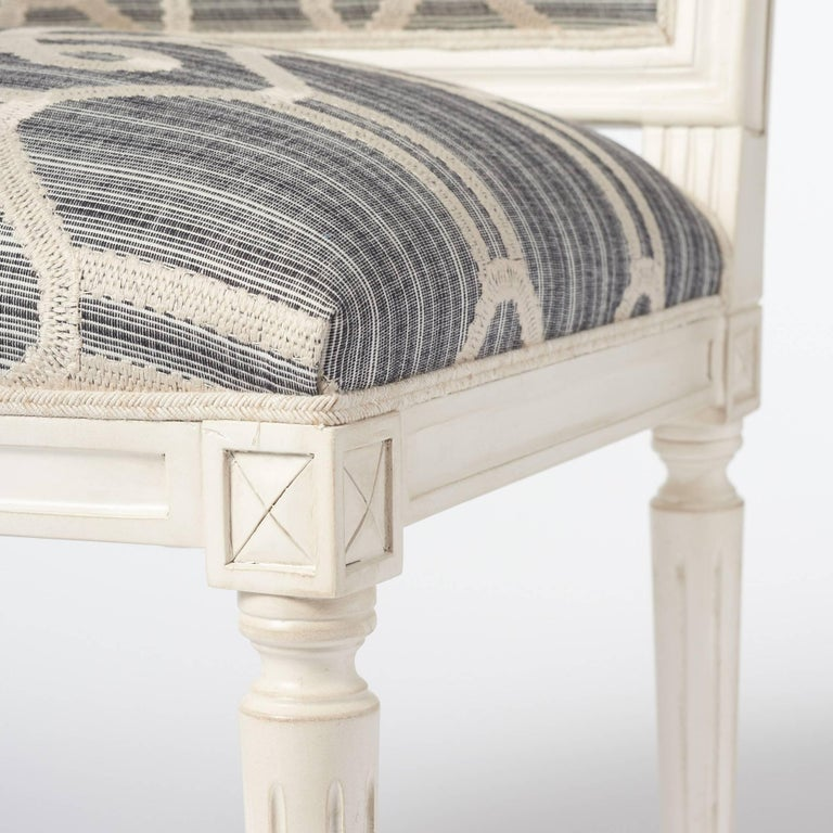 Schumacher Marie Therese Ziz Embroidery Strié Hand-Carved Beechwood Side Chair  For Sale 4
