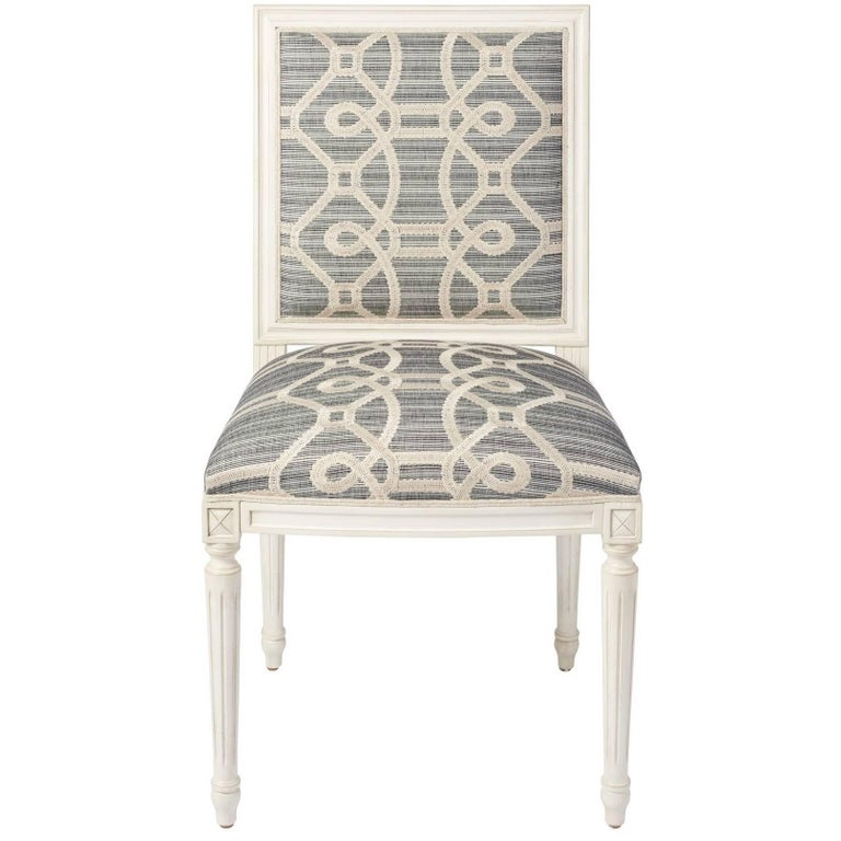 Schumacher Marie Therese Ziz Embroidery Strié Hand-Carved Beechwood Side Chair  For Sale