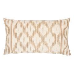 Schumacher Mark D. Sikes Santa Monica Neutral Ikat Lumbar Pillow