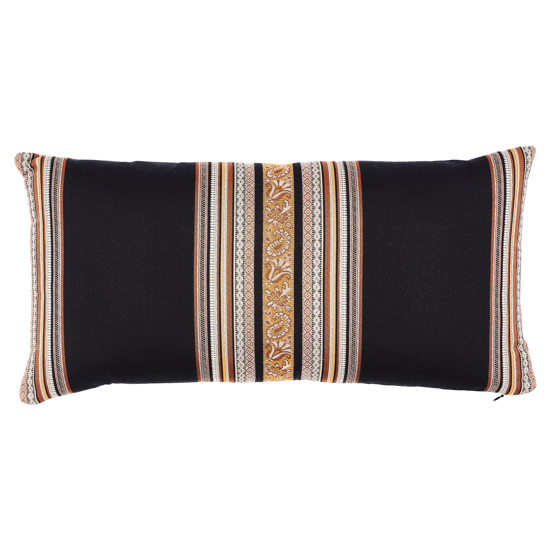 Schumacher Markova Stripe Pillow in Black