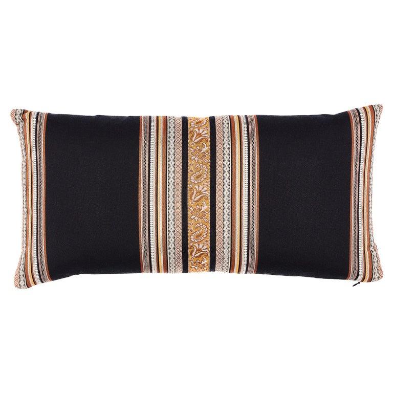 Schumacher Markova Stripe Pillow in Black For Sale
