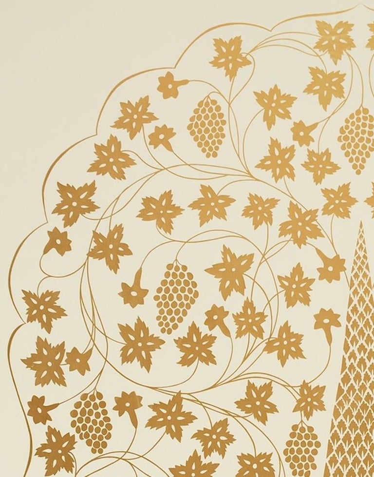 Schumacher Martyn Lawrence Bullard Mughal Panel Burnished Gold Wallpaper Panel In New Condition For Sale In New York, NY