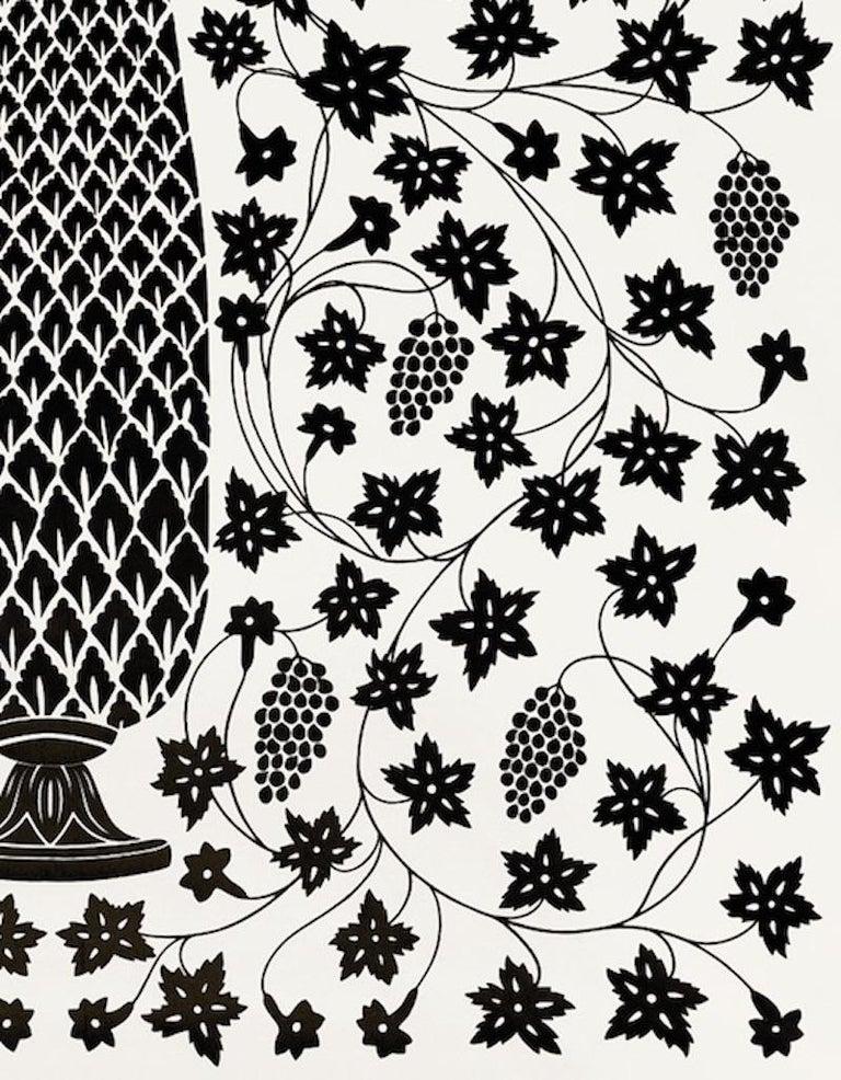 American Schumacher Martyn Lawrence Bullard Mughal Panel Noir Black Wallpaper Panel For Sale