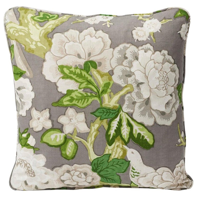 """Schumacher Mary McDonald Bermuda Blossoms Slate Gray Two-Sided 18"""" Linen Pillow For Sale"""