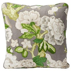 "Schumacher Mary McDonald Bermuda Blossoms Slate Gray Two-Sided 18"" Linen Pillow"