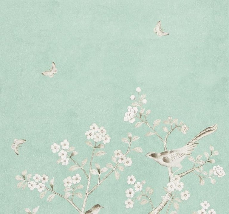 Inspired by an antique Chinese silk panel, this Mary McDonald design features exotic birds and cherry blossoms. Available as a printed linen and a wallcovering.