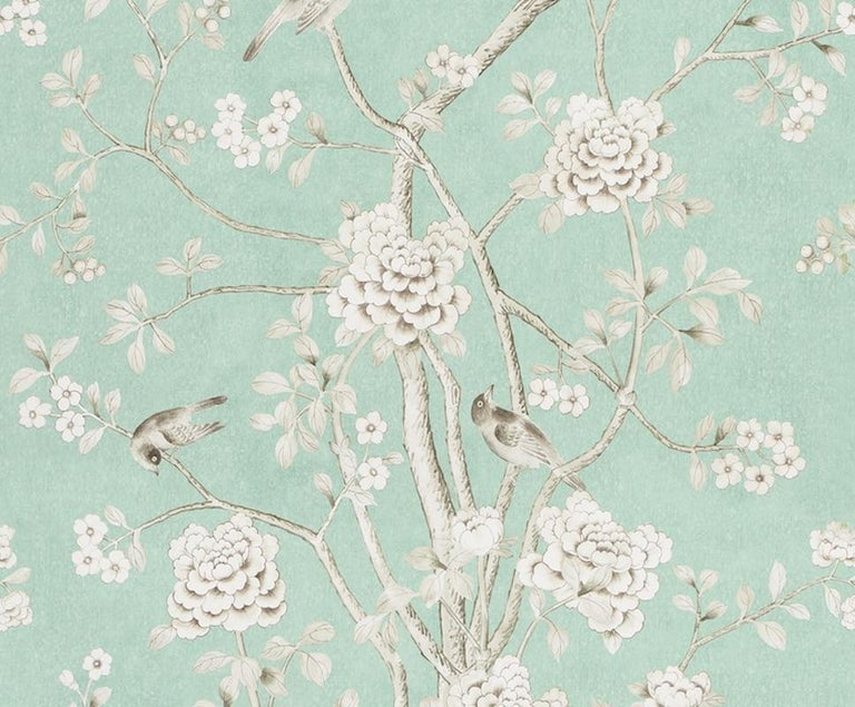 Chinoiserie Schumacher Mary McDonald Chinois Palais Floral Aquamarine Wallpaper Panel For Sale