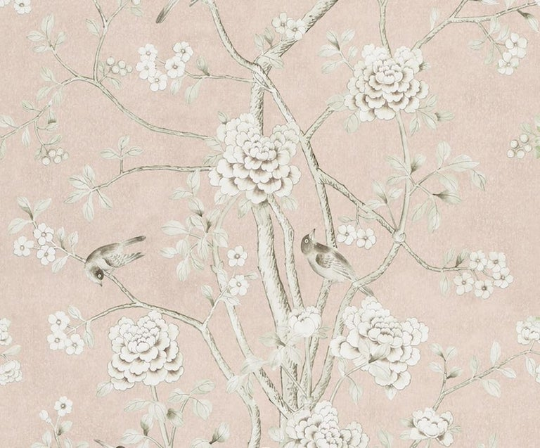Chinoiserie Schumacher Mary McDonald Chinois Palais Floral Blush Conch Wallpaper Panel For Sale