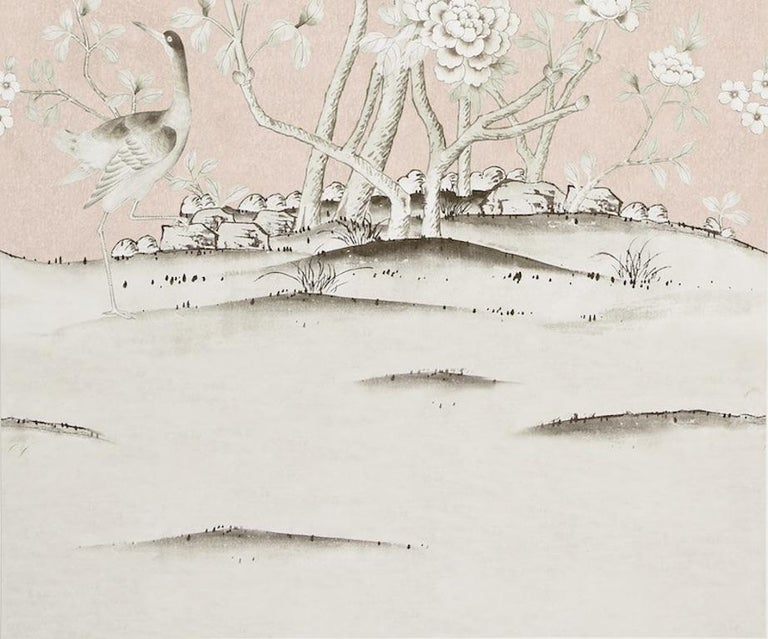 British Schumacher Mary McDonald Chinois Palais Floral Blush Conch Wallpaper Panel For Sale