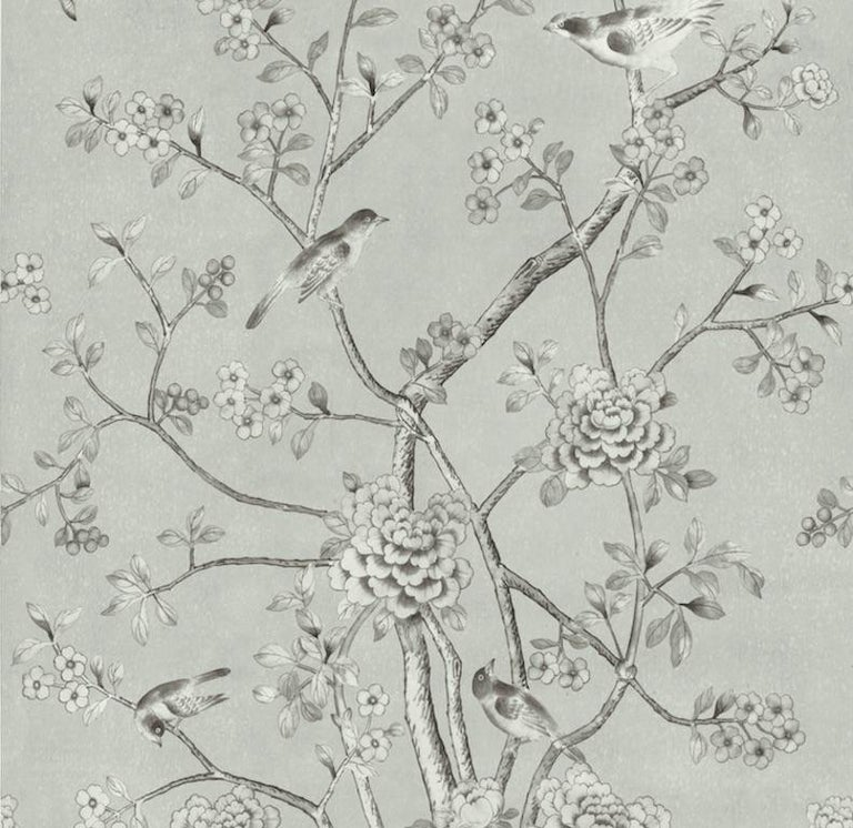 Chinoiserie Schumacher Mary McDonald Chinois Palais Floral Grisaille Wallpaper Panel For Sale