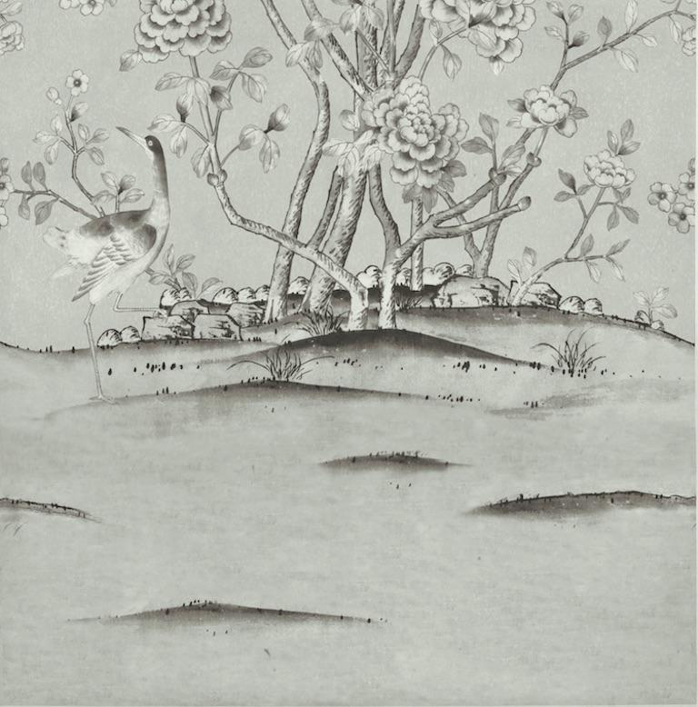 British Schumacher Mary McDonald Chinois Palais Floral Grisaille Wallpaper Panel For Sale