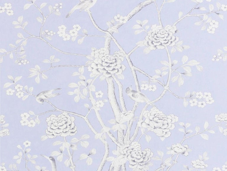 Chinoiserie Schumacher Mary McDonald Chinois Palais Floral Lavender Wallpaper Panel For Sale