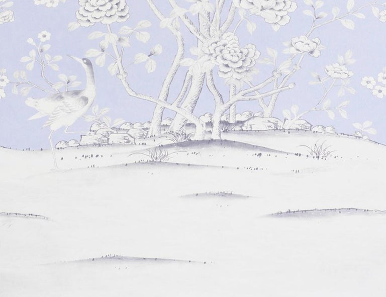 British Schumacher Mary McDonald Chinois Palais Floral Lavender Wallpaper Panel For Sale