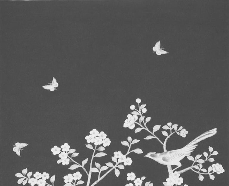 Inspired by an antique Chinese silk panel, this Mary McDonald design features exotic birds and cherry blossoms. Available as a printed linen and a wallcovering.  Since Schumacher was founded in 1889, our family-owned company has been synonymous