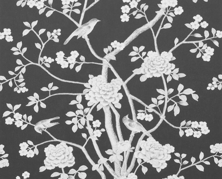 Chinoiserie Schumacher Mary McDonald Chinois Palais Floral Noir Wallpaper Panel For Sale