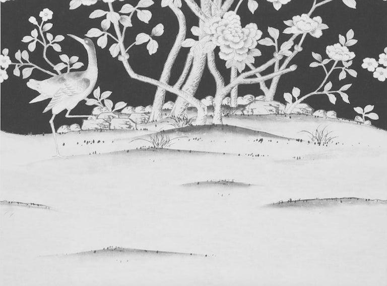 British Schumacher Mary McDonald Chinois Palais Floral Noir Wallpaper Panel For Sale