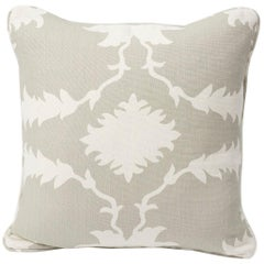 "Schumacher Mary McDonald Garden of Persia Floral Gray Two-Sided 18"" Linen Pillow"