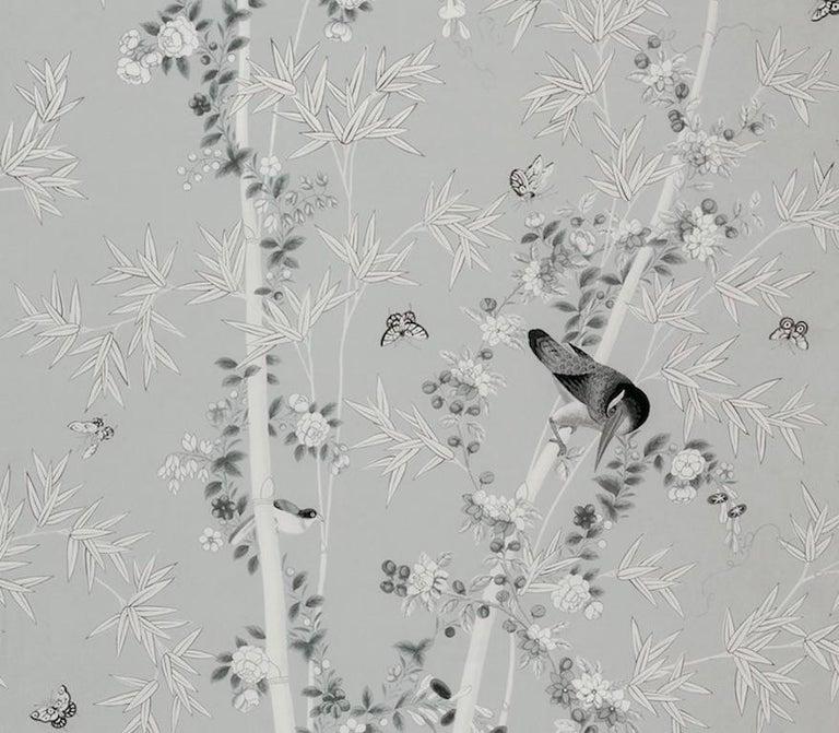British Schumacher Miles Redd Brighton Pavilion Chinoiserie Black White Wallpaper Panel For Sale