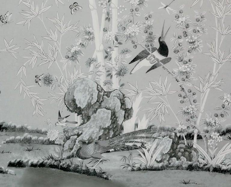 Schumacher Miles Redd Brighton Pavilion Chinoiserie Black White Wallpaper Panel In New Condition For Sale In New York, NY