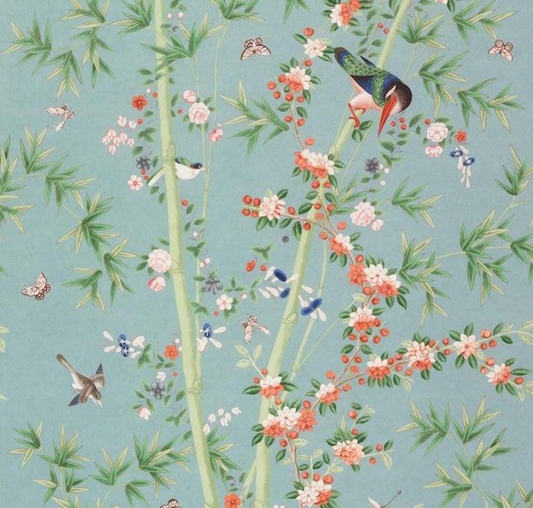 British Schumacher Miles Redd Brighton Pavilion Chinoiserie Multi-Color Wallpaper Panel For Sale