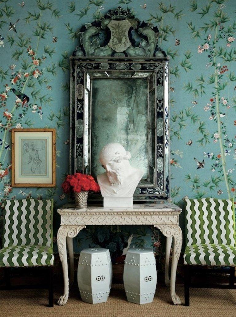 Contemporary Schumacher Miles Redd Brighton Pavilion Chinoiserie Peacock Wallpaper Panel For Sale