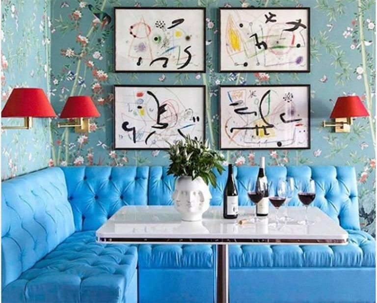 Contemporary Schumacher Miles Redd Brighton Pavilion Chinoiserie Black White Wallpaper Panel For Sale