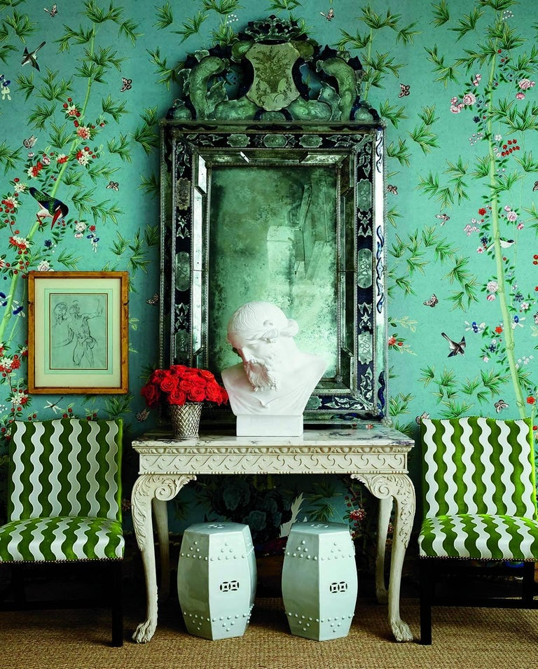 Paper Schumacher Miles Redd Brighton Pavilion Chinoiserie Black White Wallpaper Panel For Sale