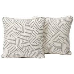 Schumacher Miles Redd Deconstructed Stripe Black Two-Sided Pillow, Pair
