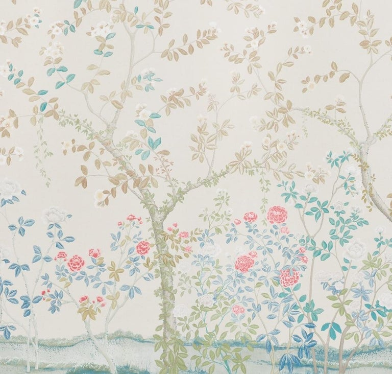 English Garden meets chinoiserie in this stunning design, in collaboration with Miles Redd. Originally drawn to scale on French canvas, this vast floral pattern is comprised of two 12' foot panels.  Since Schumacher was founded in 1889, our