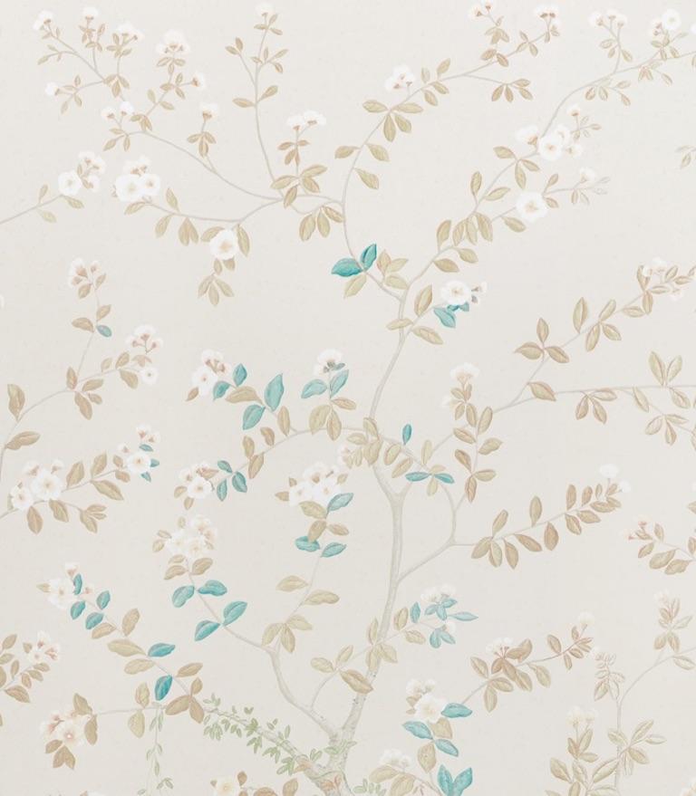 Chinoiserie Schumacher Miles Redd Madame de Pompadour Alabaster Wallpaper Panel Unit For Sale