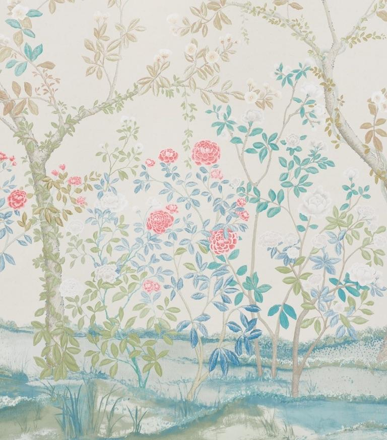 British Schumacher Miles Redd Madame de Pompadour Alabaster Wallpaper Panel Unit For Sale