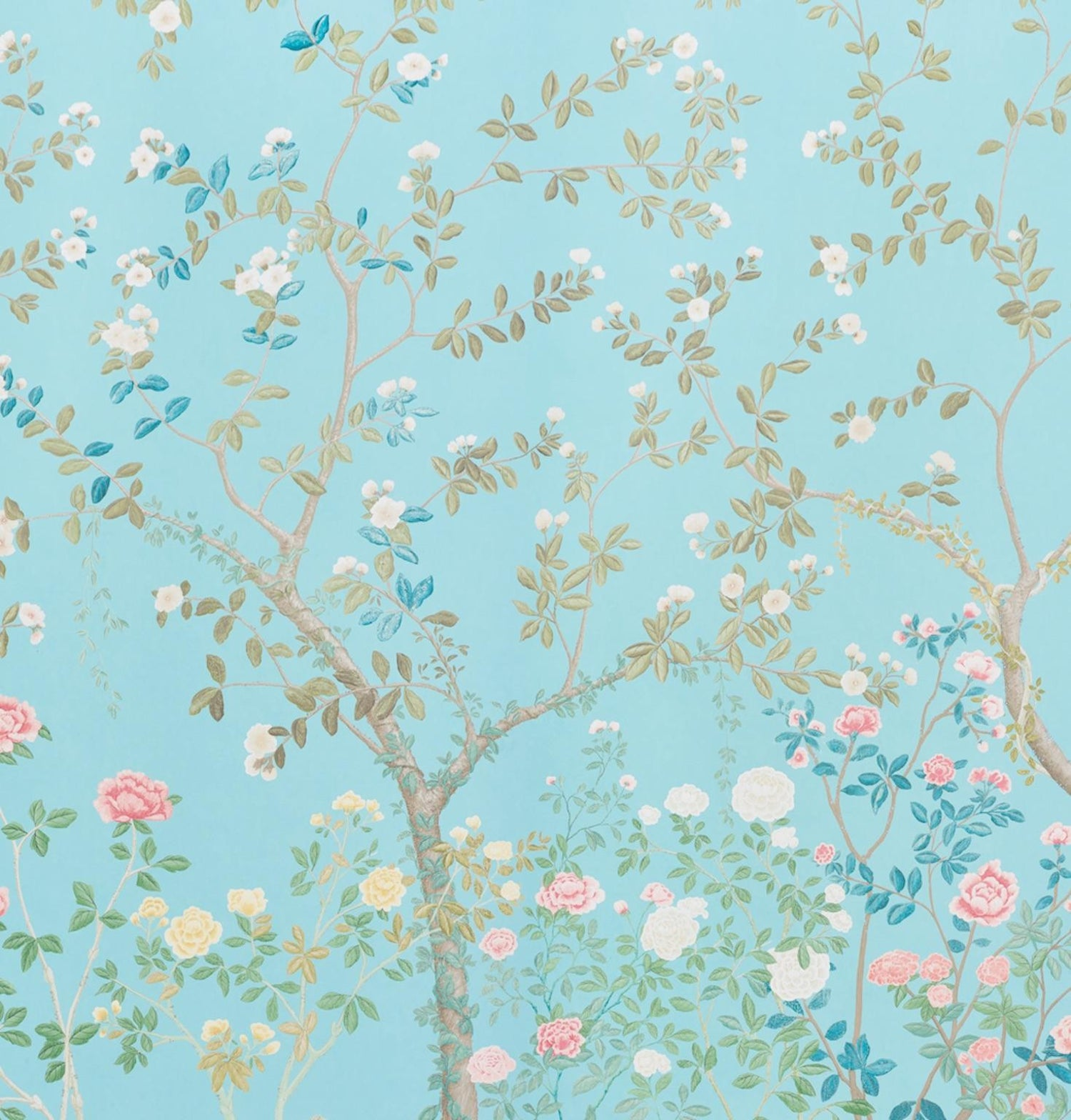 Schumacher Miles Redd Madame De Pompadour Aqua Wallpaper Panel