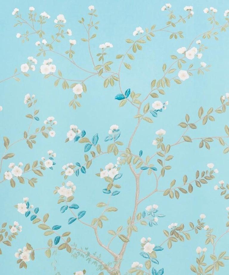 Chinoiserie Schumacher Miles Redd Madame De Pompadour Aqua Wallpaper Panel Unit For Sale