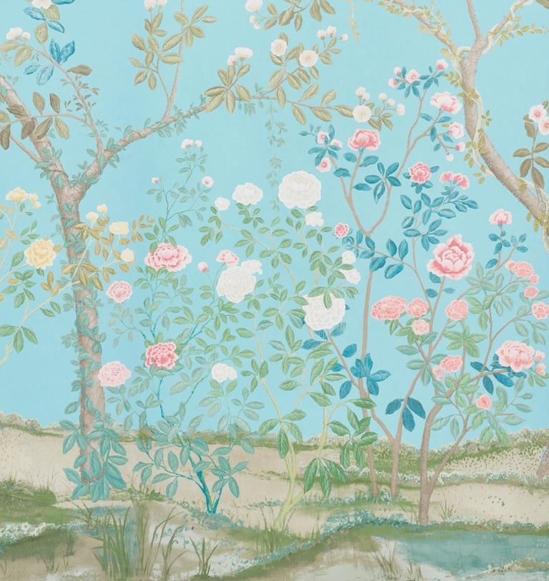 British Schumacher Miles Redd Madame De Pompadour Aqua Wallpaper Panel Unit For Sale
